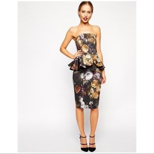 ASOS Brown Floral Strapless Fitted Peplum Dress